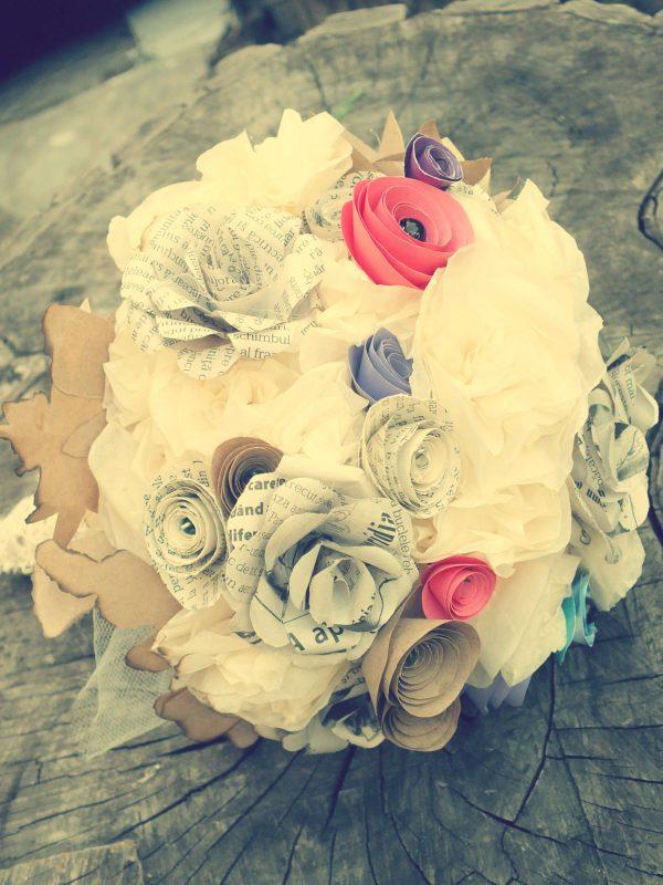 buchet de mireasa flori hartie