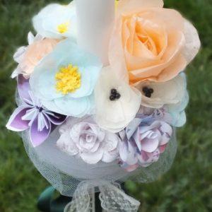 Lumanari De Cununie Sau Botez Cu Flori Din Hartie Colorata