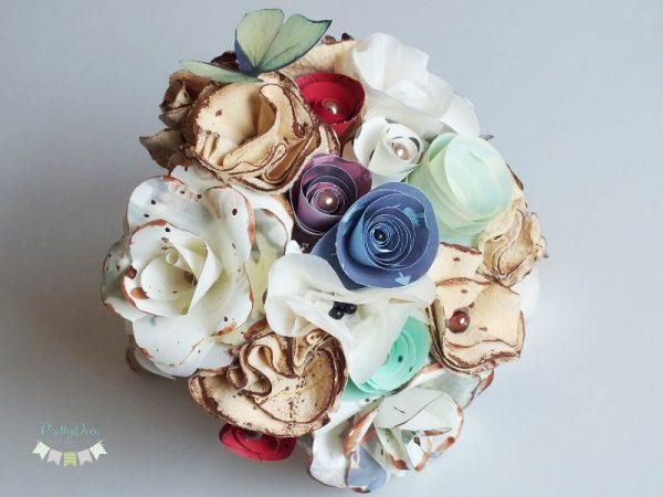 buchet de flori din hartie si piele aniversare sarbarorire casatorie