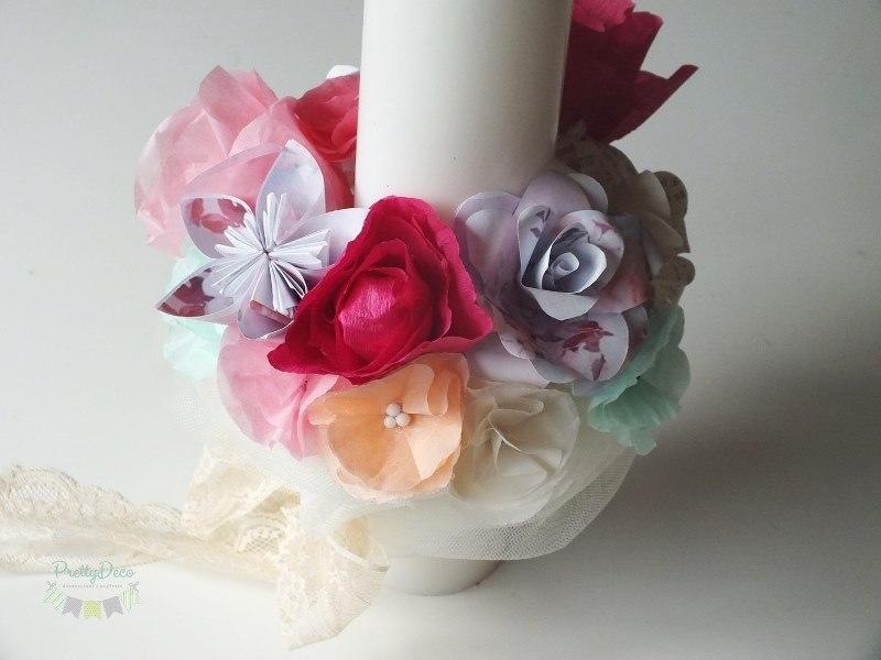 lumanare-de-botez-fata-cu-roz-fucsia-bujor-trandafiri