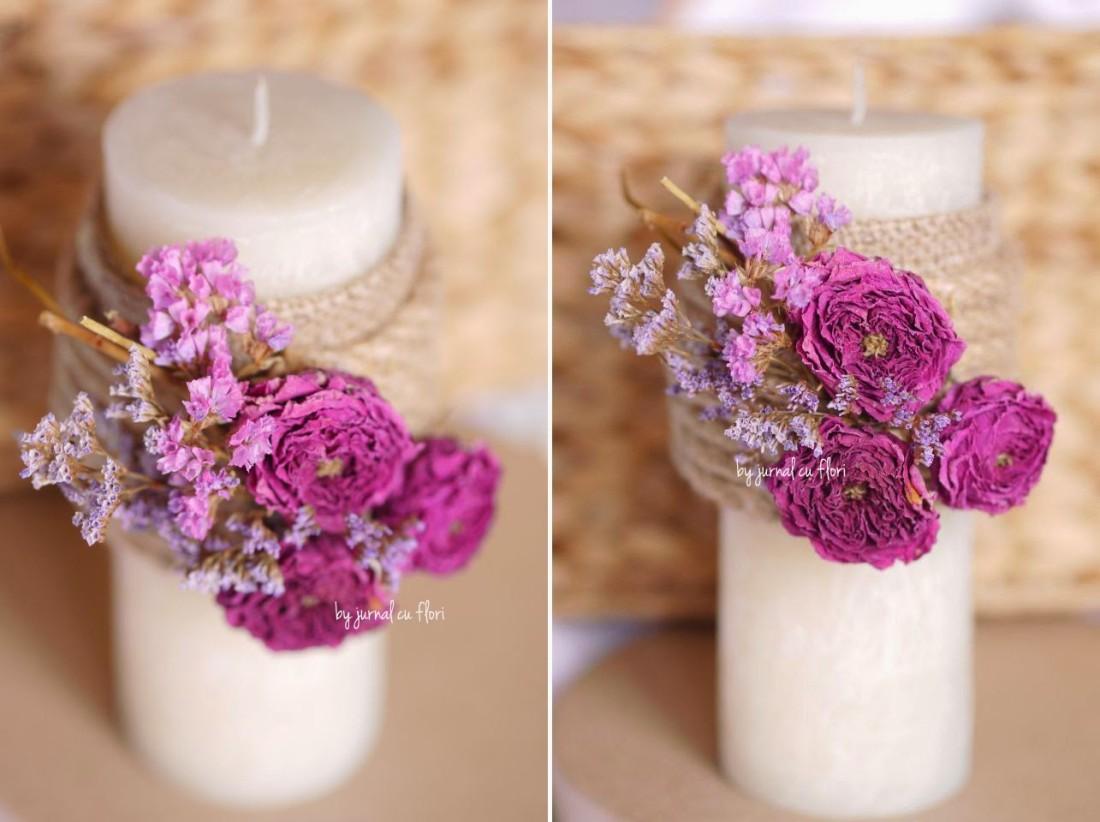 lumanare-scurta-botez-rustica-trandafiri-flori-uscate